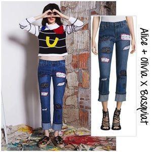 Alice & Olivia x Basquiat Hanna patchwork jeans 27